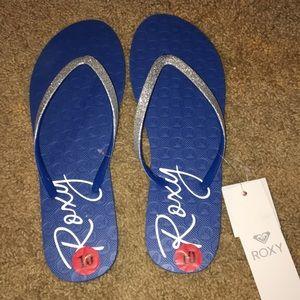 NET SZ 10 Roxy sandals blue with silver glitter